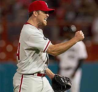 Brad Lidge and the Phillies get the win thanks in large part to a questionable call in the ninth.  (AP)