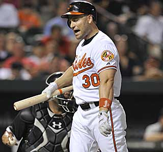 Luke Scott strikes out and the Orioles suffer their first loss under manager Buck Showalter.  (AP)