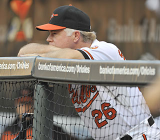 Buck Showalter has guided the Orioles to five wins in his first six games as manager.  (AP)
