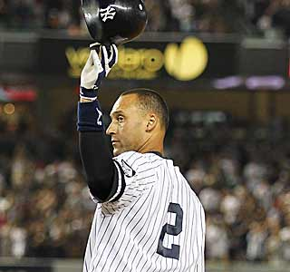 Derek Jeter tips his cap after his 2,874th career hit to pass Babe Ruth on the all-time list. (Getty Images)