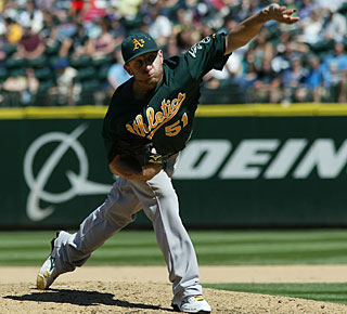 Dallas Braden is effective in throwing 104 pitches, 69 for strikes, and whiffs six batters. (AP)