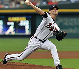 Tim Hudson wins his fifth straight start for Atlanta, allowing just three hits over eight innings. (AP)