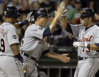 Alex Avila's (right) fifth home run of the season couldn't come at a better time for Detroit. (AP)