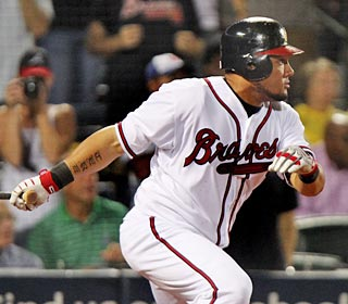 Melky Cabrera delivers the game winner off Octavio Dotel, who relieves Hong-Chih Kuo in the ninth.  (AP)