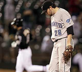 Shaun Marcum's bid at a no-hitter is broken up in the seventh when Conor Jackson takes him deep. (AP)