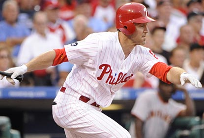 Chase Utley returns to the Phillies lineup with an 0-for-5 night after thumb surgery on July 1.  (US Presswire)