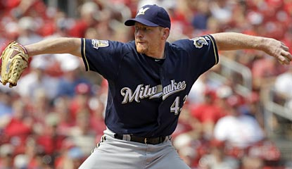 Randy Wolf is spectacular, throwing three-hit ball for 8 1/3 innings to lead the Brewers to the mini sweep of St. Louis.  (AP)