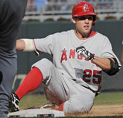 Peter Bourjos adds to his best day as a major leaguer by digging in for a triple during the fifth inning. (AP)