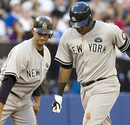Jorge Posada and Marcus Thames are just two of five Yankees to homer against the Blue Jays. (AP)
