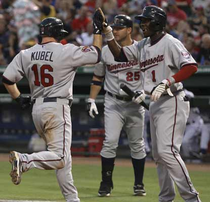 Jason Kubel and Orlando Hudson congratulate each other as they score on a Michael Cuddyer double off Cliff Lee in the third. (AP)