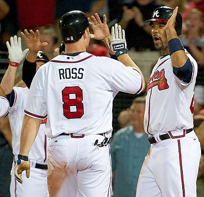 Way to go, dude. Derrek Lee congratulates David Ross on his first career grand slam. (US Presswire)