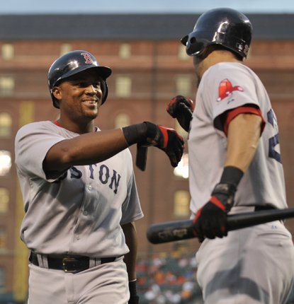 Adrian Beltre celebrates a home run which sparks a five-run second inning for the Red Sox. (AP)