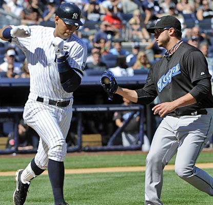 Brett Cecil gets the better of A-Rod here, but the All-Star does have two hits and an RBI on the day.  (AP)