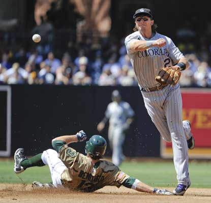 Troy Tulowitzki turns a double play while Chris Denorfia tries to reach second, and the Padres' downslide continues. (AP)