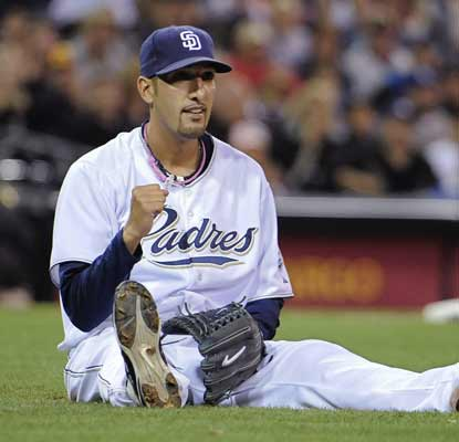 Mike Adams and the Padres finally have something to get excited about as they beat the Dodgers to snap their losing streak. (AP)