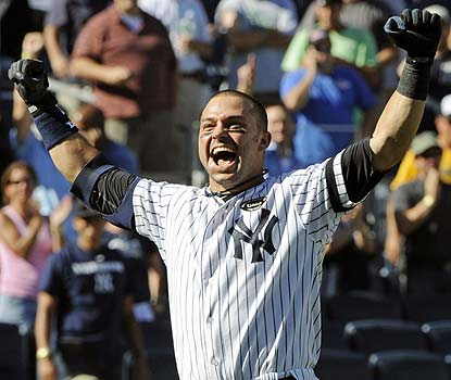 Nick Swisher, who enters in an 0-for-14 rut, is the hero after his two-run homer in the bottom of the ninth. (AP)