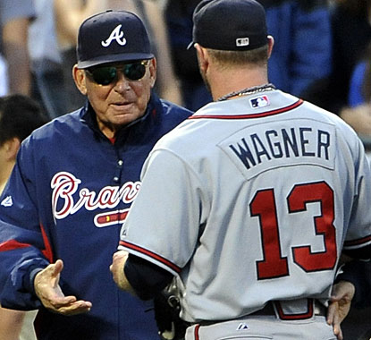Manager Bobby Cox congratulates Billy Wagner after closing the deal in this game against the Mets. (AP)