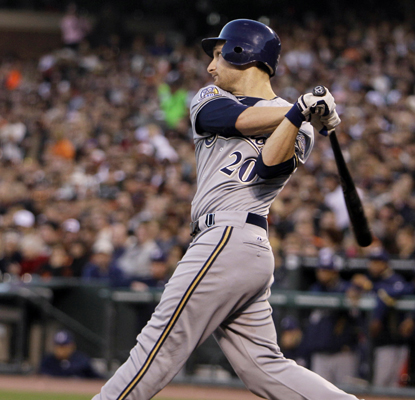 Jonathan Lucroy hits a two RBI single off Tim Lincecum to help the Brewers defeat the Giants for the second straight night.  (AP)