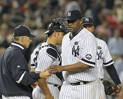 CC Sabathia trudges off after failing to get through the sixth inning, in which Tampa Bay turns a 3-1 deficit into an 8-3 lead. (US Presswire)
