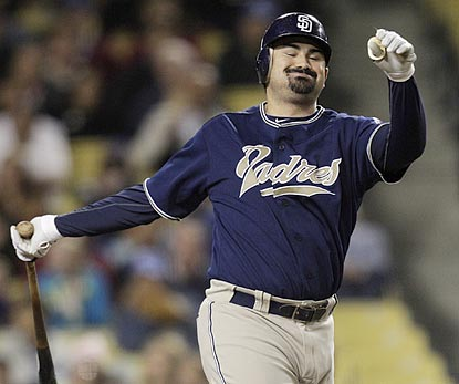 Adrian Gonzalez (0 for 2) and the Padres will have to lament a missed chance against the Dodgers and get ready for the Reds.  (AP)