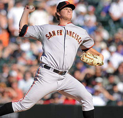 Matt Cain goes the distance, allowing two runs and three hits while striking out eight.  (AP)