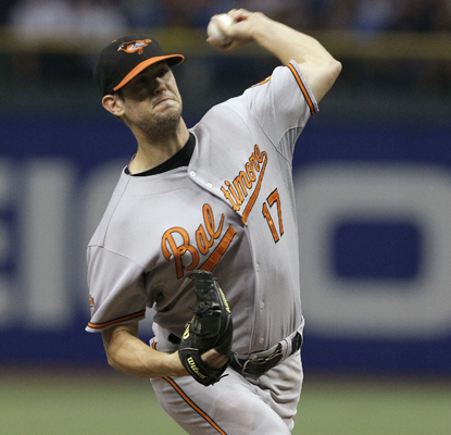 The Orioles' Brian Matusz allows three hits in seven innings with two walks and eight strikeouts.  (AP)