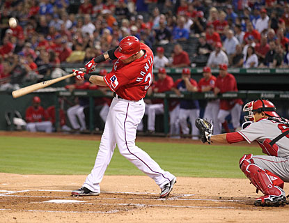 After missing 24 games with broken ribs, Josh Hamilton goes 0 for 3 at the plate. (US Presswire)