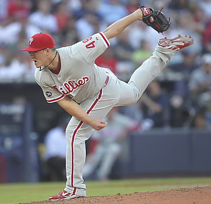 Vance Worley yields one hit through five shutout innings as Philly hurts the Braves' chances at reaching the postseason.  (AP)