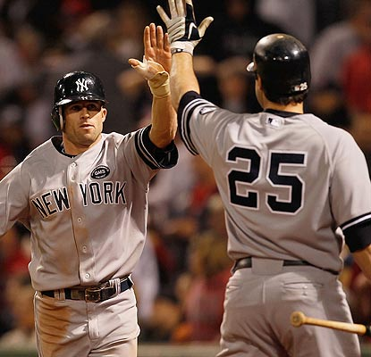 Give it up for that. Brett Gardner scores the go-ahead run in the 10th inning thanks to an error by Bill Hall. (Getty Images)