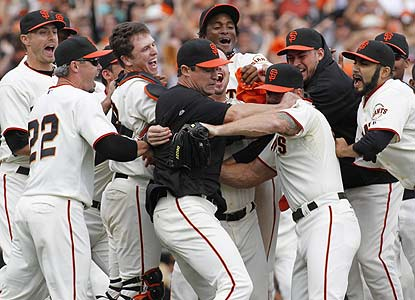 The Giants beat the Padres on their third try this weekend and earn their first division crown and playoff berth since 2003. (AP)