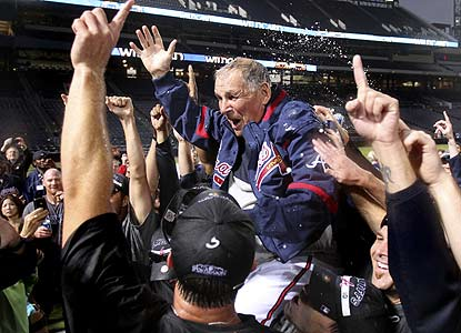 The Braves, back in the playoffs for the first time since 2005, get retiring Bobby Cox into the postseason one last time. (AP)