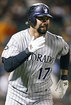 Todd Helton's batting average often is a sign of the club's success. (US Presswire)