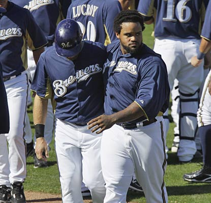 A heated Prince Fielder walks back to the dugout after the benches clear in the sixth inning.  (AP)