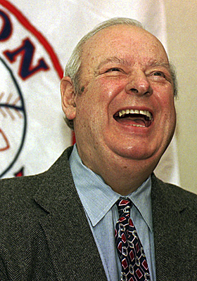 In this file photo from Jan. 23, 1996, Red Sox VP of Baseball Operations Lou Gorman announces his retirement. (AP)