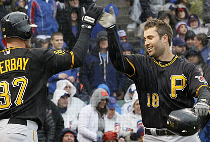Lyle Overbay welcomes Neil Walker home after Walker takes it out of the park for a grand slam. (AP)