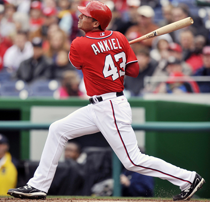 Rick Ankiel hits a three-run home run in the third inning to help the Nationals put away the Braves. (US Presswire)