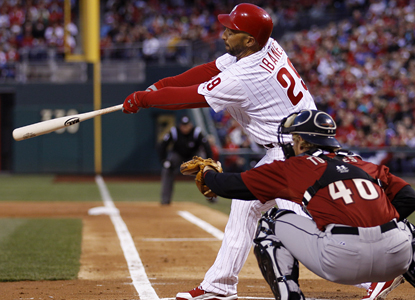 Raul Ibanez follows through on an RBI double off Astros pitcher Wandy Rodriguez to help the Phillies to the win. (AP)