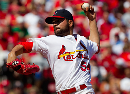 Cardinals pitcher Jaime Garcia works his way to striking out nine Padres batters in a win for St. Louis. (Getty Images)