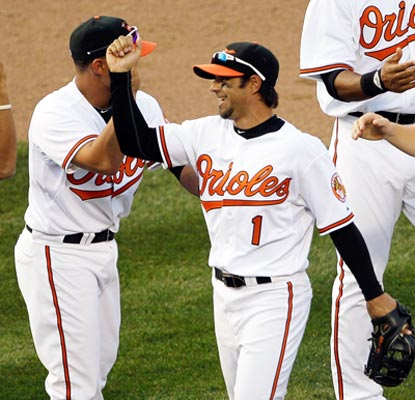 Second baseman Brian Roberts drives in three runs while helping the Orioles win their home opener. (Getty Images)
