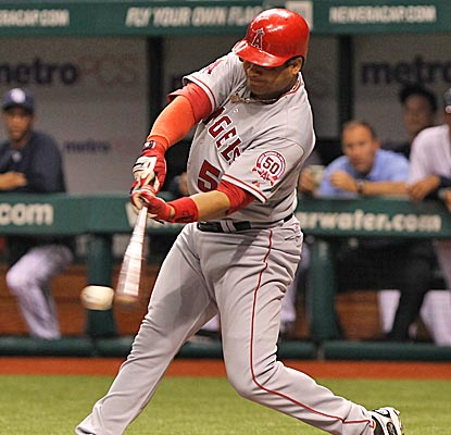 Bobby Abreu reaches base for his eighth consecutive plate appearance with this first-inning single.  (US Presswire)