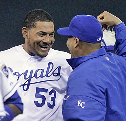 Melky Cabrera (53) celebrates with Brayan Pena after Cabrera's game-ending single in the 12th inning.  (AP)