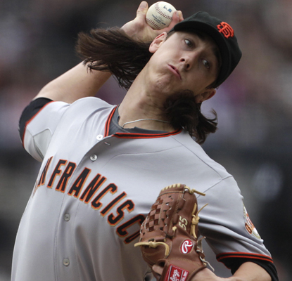 Tim Lincecum has a banner day striking out 13 Padres batters and walking none as the Giants win their second game this season. (AP)
