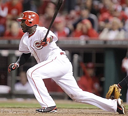 Brandon Phillips follows through on his single in the eighth inning, which gives him the 58th three-hit game of his career. (AP)