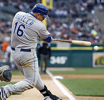 Billy Butler doubles to left field in the ninth as the Royals secure a win on the road over the Tigers. (Getty Images)