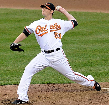 Orioles rookie starter Zach Britton allows four hits in just under eight innings vs. the Rangers. (Getty Images)