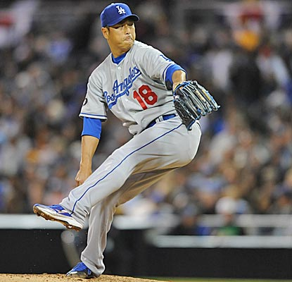 Dodgers starter Hiroki Kuroda, delivering in the fourth, comes within one out of his third career shutout. (US Presswire)