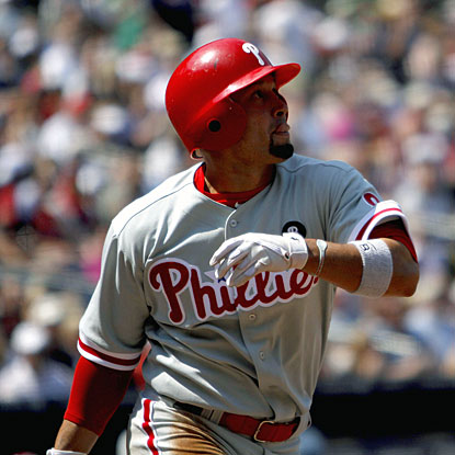 Shane Victorino homers into the right-field seats to lead off the sixth inning off Derek Lowe.    (AP)