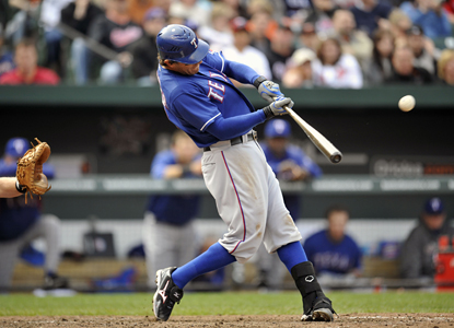Ian Kinsler hits a two-run home run in the seventh inning to help the Rangers to their best start in franchise history. (US Presswire)