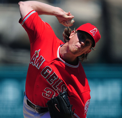 Jered Weaver has his A-game going against the Blue Jays as he strikes out a career-high 15 batters in the Angels' win.  (US Presswire)