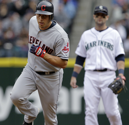Asdrubal Cabrera touches 'em all after hitting a home run in the first inning in the Indians' win over the Mariners. (AP)